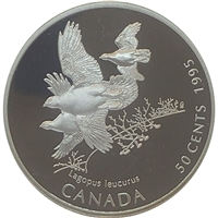 1995 Canada Whitetailed Ptarmigan (Lagopus leucurus) 50-cents Silver Proof_