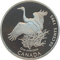 1995 Canada Whooping Crane (Grus americana) 50-cents Silver Proof_