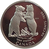1996 Canada Black Bear Cubs 50-cents Silver Proof_