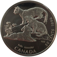 1996 Canada Cougar Kittens 50-cents Silver Proof_