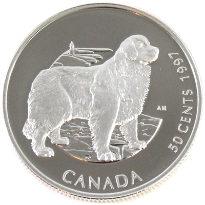 1997 Canada Newfoundland Dog 50-cents Silver Proof