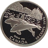 1998 Canada Killer Whale 50-cents Silver Proof_