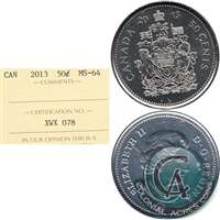 2013 Canada 50-cents ICCS Certified MS-64