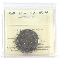 2014 Canada 50-cents ICCS Certified MS-66
