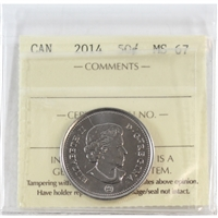 2014 Canada 50-cents ICCS Certified MS-67