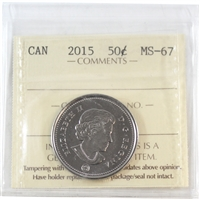 2015 Canada 50-cents ICCS Certified MS-67