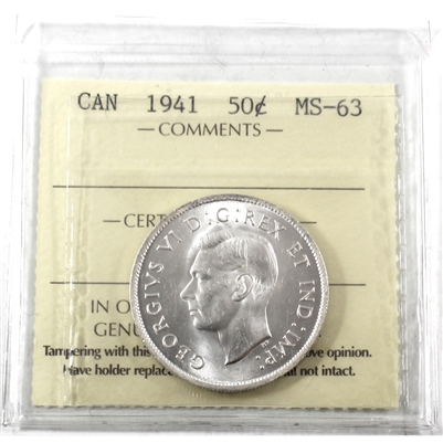 1941 Canada 50-cents ICCS Certified MS-63 (XXN 379)