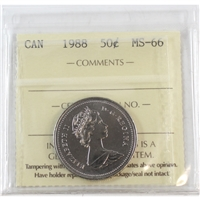 1988 Canada 50-cents ICCS Certified MS-66