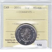 2016 Canada 50-cents ICCS Certified MS-66
