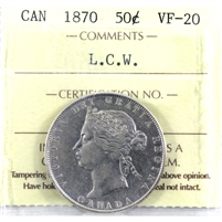 1870 Canada 50-Cents ICCS Certified VF-20 LCW