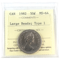 1982 Canada 50-cents ICCS Certified MS-64 Large Beads; Type 1
