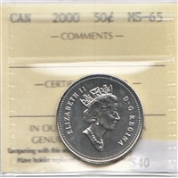 2000 Canada 50-cents ICCS Certified MS-65