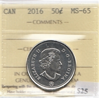 2016 Canada 50-cents ICCS Certified MS-65