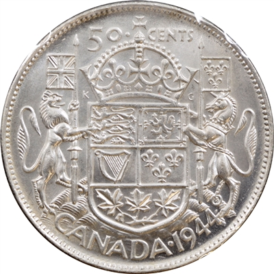 1944 Near 4 Canada 50-cent Brilliant Uncirculated (MS-63) $