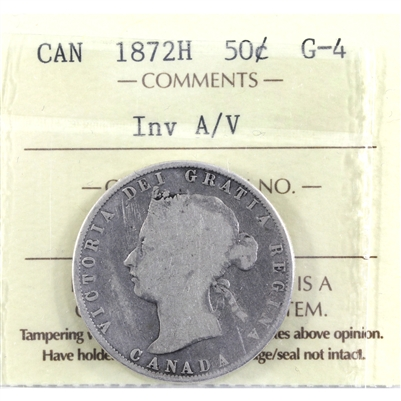 1872H Inverted A/V 50-cents ICCS Certified G-4