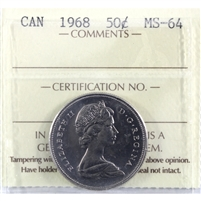 1968 Canada 50-cents ICCS Certified MS-64