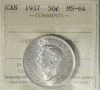 1937 Canada 50-cents ICCS Certified MS-64 (XUM 334)