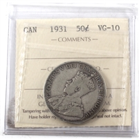 1931 Canada 50-cents ICCS Certified VG-10