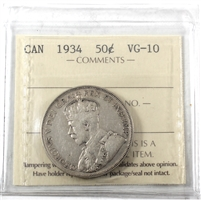 1934 Canada 50-cents ICCS Certified VG-10