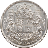 1943 Near 3 Canada 50-cent Brilliant Uncirculated (MS-63) $
