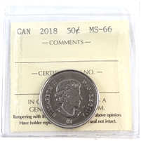 2018 Canada 50-cents ICCS Certified MS-66