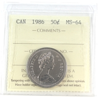 1986 Canada 50-cents ICCS Certified MS-64