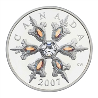 2007 Canada $20 Iridescent Crystal Snowflake Sterling Silver Coin