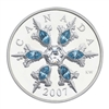 2007 Canada $20 Blue Crystal Snowflake Sterling Silver Coin