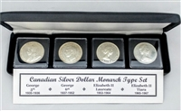 23M - 1935-1967 Canadian Silver Dollar Monarch 4-coin Type Set in Black Display