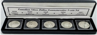 1939-1967 Canadian Commemorative Silver Dollar 5-coin Collection