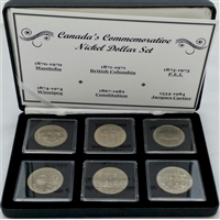 Canadian Commemorative Nickel Dollar 6-coin Collection in Display Case