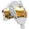 2012 Australia $1 Map Shaped - Kookaburra Proof Silver (No Tax) light toning