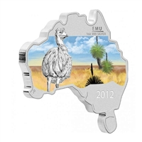 2012 Australia $1 Map Shaped - Emu Fine Silver (No Tax)