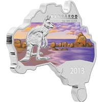 2013 Australia $1 Map Shaped - Kangaroo Fine Silver (No Tax) lightly toned