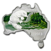 2013 Australia $1 Map Shaped - Platypus Fine Silver (No Tax) lightly toned