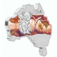 2014 Australia $1 Map Shaped - Koala Fine Silver (No Tax) lightly toned