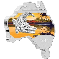 2014 Australia $1 Map Shaped - Salt Water Crocodile Fine Silver (No Tax)