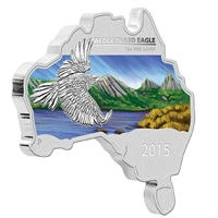 2015 Australia $1 Map Shaped - Wedge Tailed Eagle Silver Proof (No Tax)