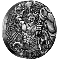 2016 Tuvalu $2 Norse Gods - Thor 2oz. High Relief (No Tax)