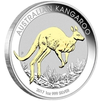 2017 Australia $1 Kangaroo Gilded Silver Coin (TAX Exempt)