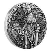 2017 Tuvalu $2 Norse Goddesses - Freya 2oz. Antique High Relief (NO Tax)