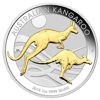 2018 Australia $1 Gilded Kangaroo 1oz. Silver Proof (No Tax)