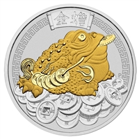 2018 Tuvalu $1 Money Toad 1oz. Gilded Silver (TAX Exempt)