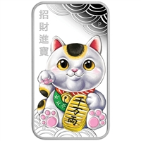 2018 Tuvalu $1 Lucky Cat Rectangular 1oz. Silver Proof Coin (TAX Exempt)