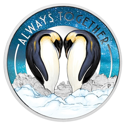 2018 Tuvalu 50-cent Always Together - Penguins Silver Proof (TAX Exempt)