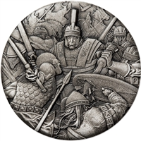 2018 Tuvalu $2 Warfare - Roman Legion Antiqued High Relief Rimless 2oz. Silver (No Tax)