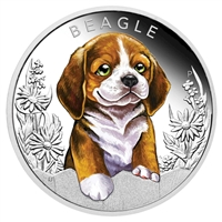 2018 Tuvalu 50-cent Puppies - The Beagle 1/2oz. Silver Proof (No Tax)