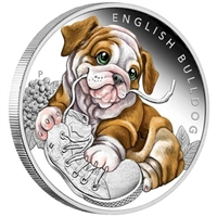 2018 Tuvalu 50-cent Puppies - English Bulldog 1/2oz. Silver Proof (No Tax)