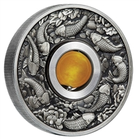 2018 Tuvalu $1 Good Luck Rotating Charm 1oz. Antique Finish Silver (No Tax)