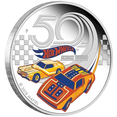 2018 Tuvalu $1 50th Anniversary of Hot Wheels 1oz. Silver Proof (No Tax)